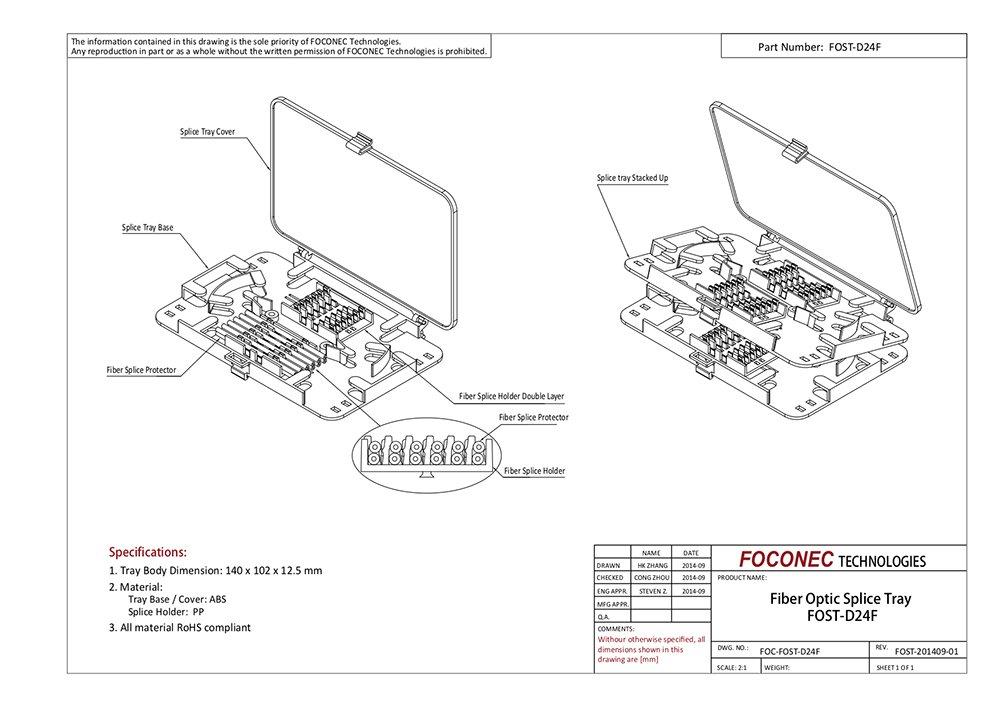 Compact Stackable 24 Core Fiber Optic Splice Tray
