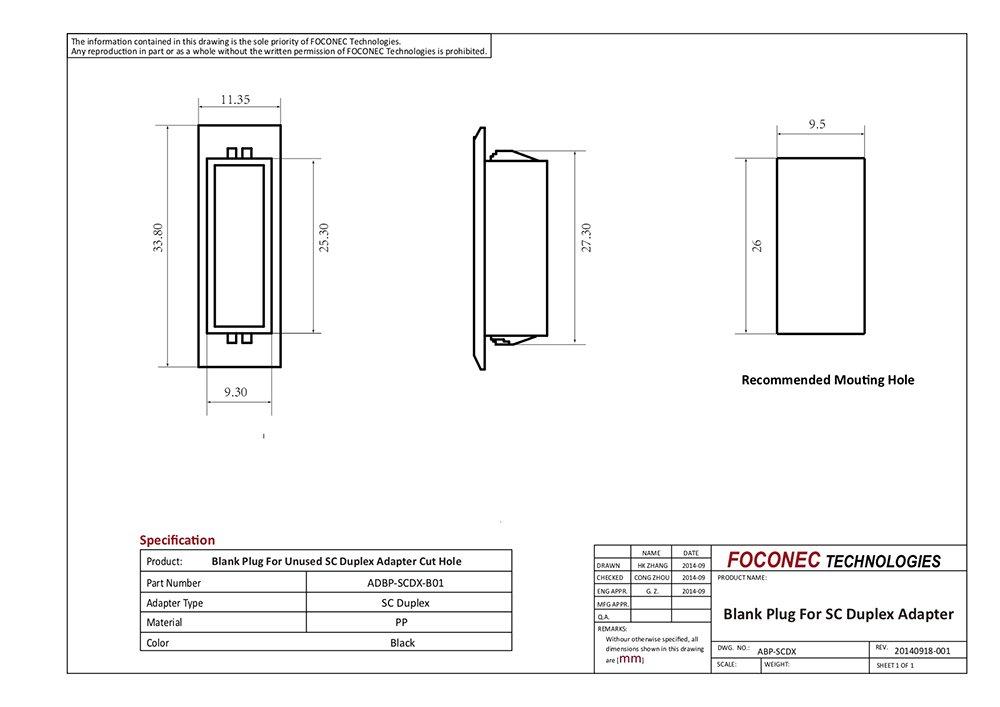 SC duplex blank plug