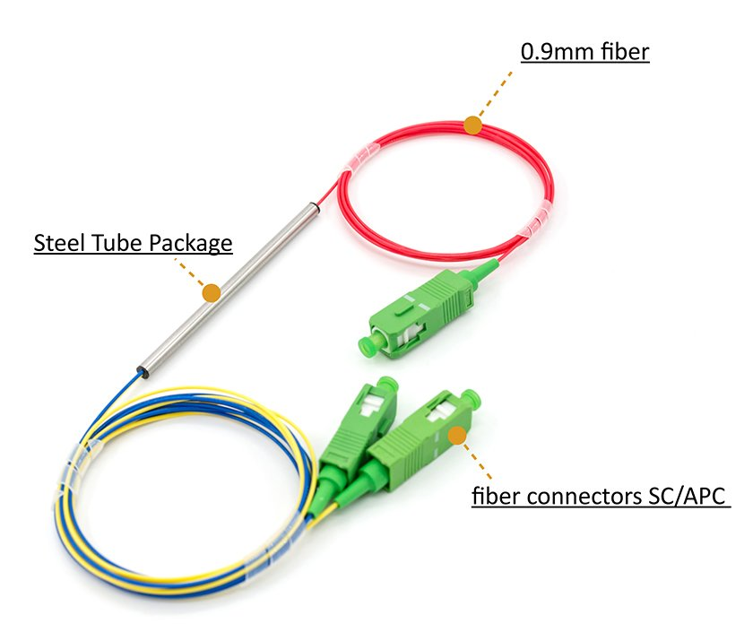 Steel Tube Type 1x2 Fusion Fiber Optic Coupler SC/APC connectors