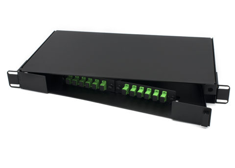 12 Port Swing-out Fiber Patch Panel with SC Simplex Adapters