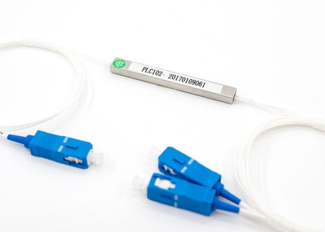 steel tube type 1x2 PLC splitter, PON fiber optic splitter