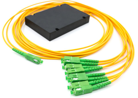 PLC Fiber Splitter 1x8 with SC/APC Connectors, ABS Box Type