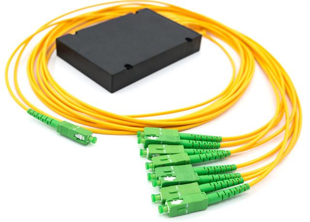 PLC Fiber Splitter 1x8 with SC/APC Connectors, ABS Box Type