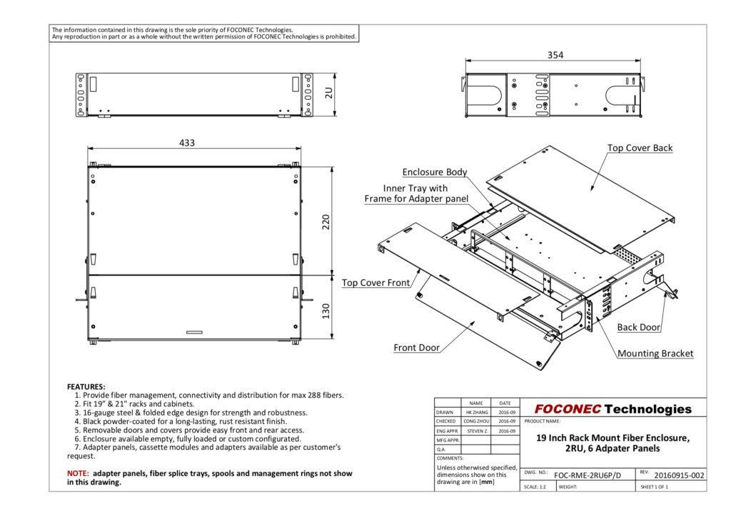 drawing of 6 adapter panel type 2U fiber enclosure