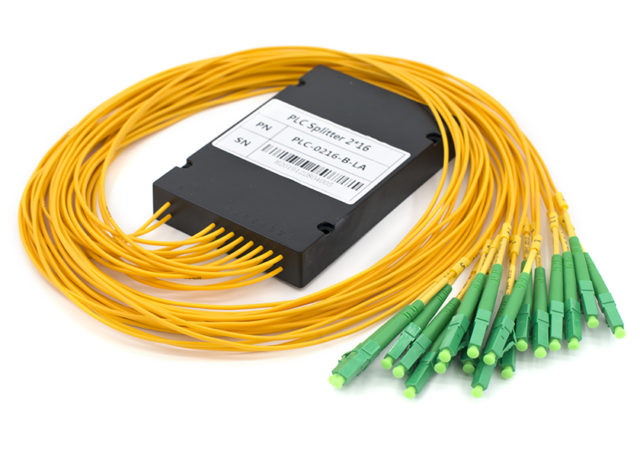 2x16 PLC Fiber Splitter, LC/APC Connectors, ABS Box Type