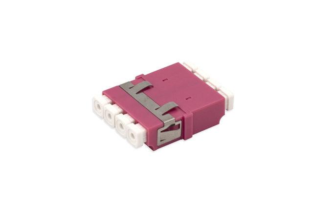 LC OM4 Quad Fiber Adapter / Coupler, Anti-shake Clip