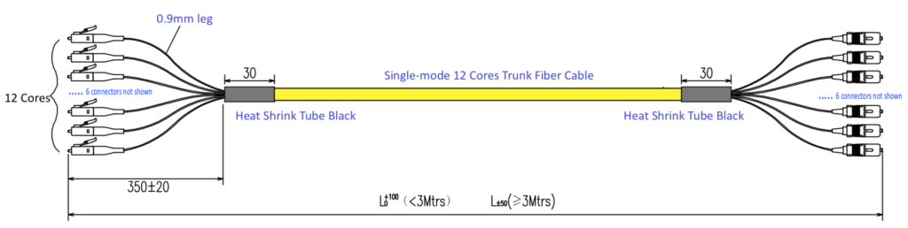 LC to SC Fiber Distribution Patch Cable Single Mode 12 Strand