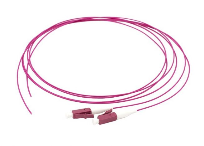 LC Fiber Optic Pigtail, Multimode OM4, Tight Buffer Fiber