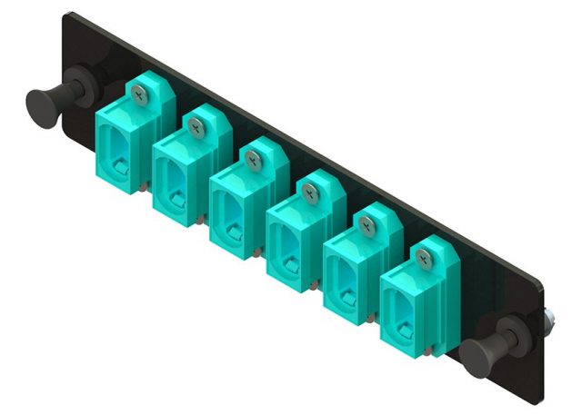 LGX fiber optic adapter panel with 6 MTP or MPO adapters