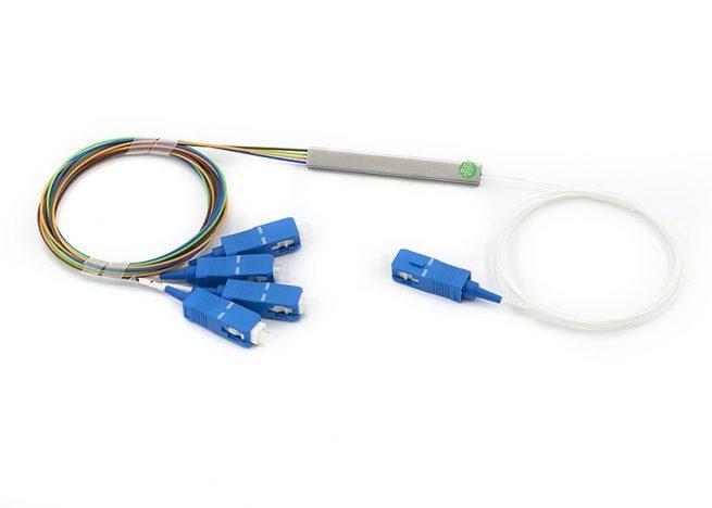 PLC Fiber Splitter 1x4, SC/UPC Connector, Steel Tube Type