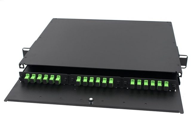 "1U SC Fiber Enclosure, Slide-out, pre-loaded 3 adapter panel with SC simplex adapters, 18 port, 19"" rack mounted patch panel"