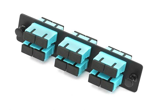 12 Port SC Fiber Adapter Panel, OM3, Short Flange Adapters
