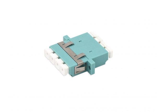 LC OM3 Quad Fiber Adapter / Coupler, Anti-shake Clip