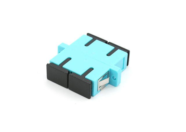 SC OM3 Duplex Adapter Aqua Color, Standard Flange