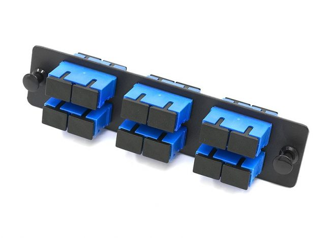 12 Port SC Fiber Adapter Panel SM, short flange SC duplex adapters