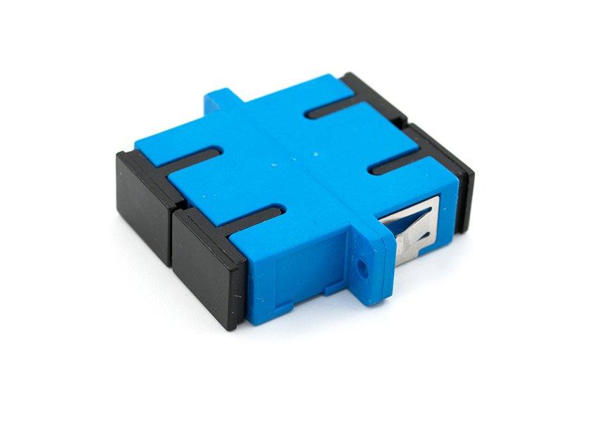 SC UPC duplex adapter, single-mode, blue