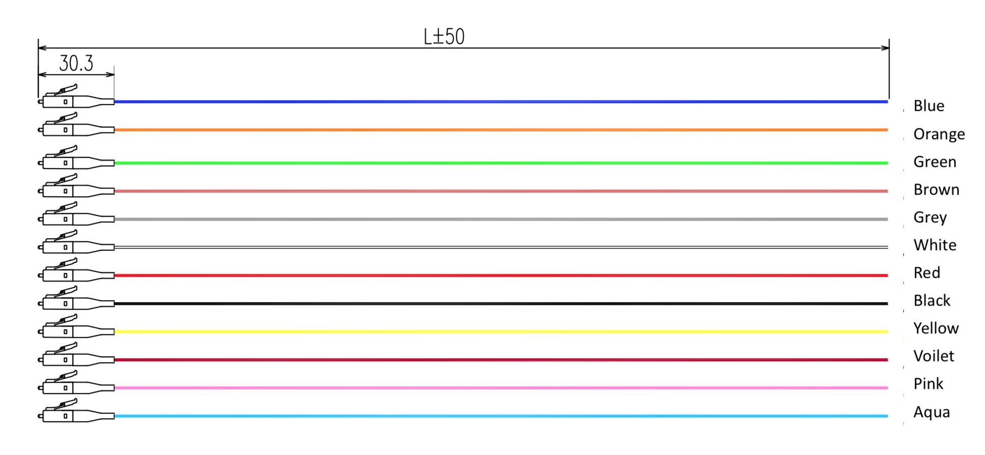 12 color-code fiber optic pigtail, 900um fiber cable assemblies