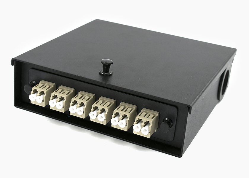 Compact 12 Port Wall Mount Fiber Box With LC Adapter Panel