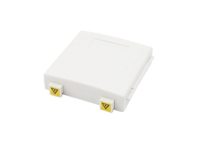 Wall Mount Fiber Outlet Box SC 2 Port, Hinged Cover