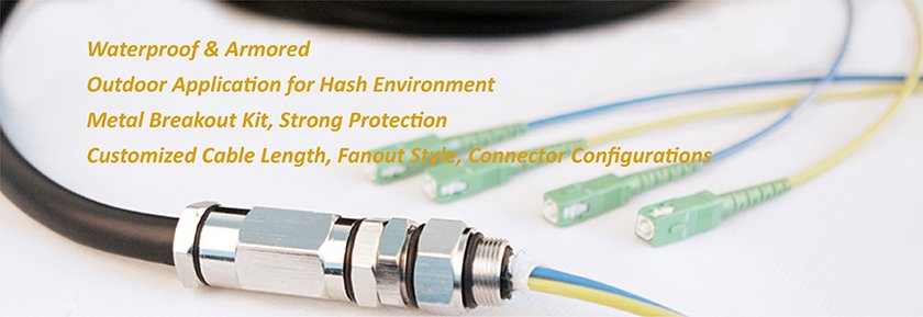 waterproof fiber optic patch cable 4 cores