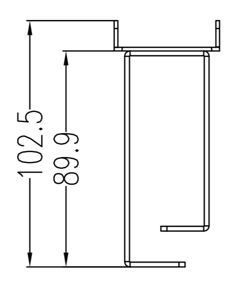 drawing of cable wire manager 1U, with 5 saddles