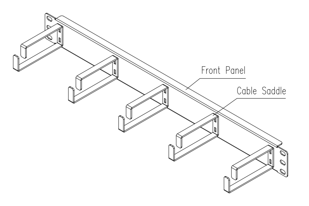 drawing of 1U cable wire manager horizontal rack mounted with 5 cable rings/saddles