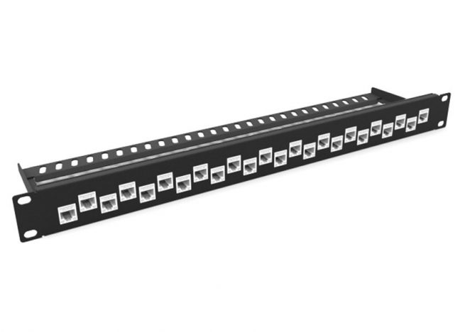 24 Port UTP Cat5E, Cat6, Cat6A Patch Panel with cable Management