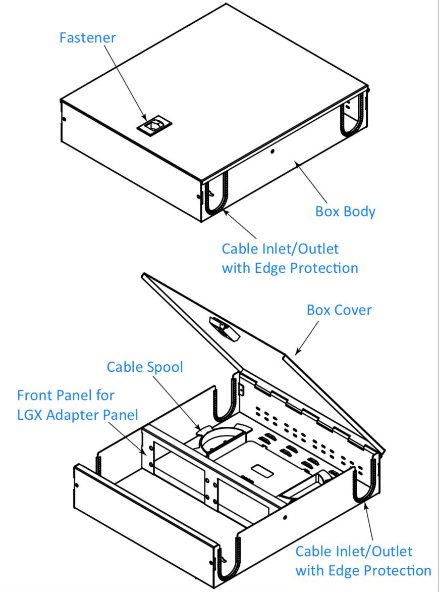 4 adapter panel type wall mount fiber enclosure