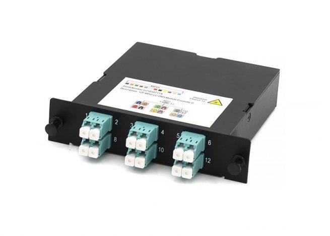 MPO-LC fiber cassette, OM3, 12 core
