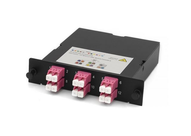 MPO-LC fiber cassette, OM4, 12 core