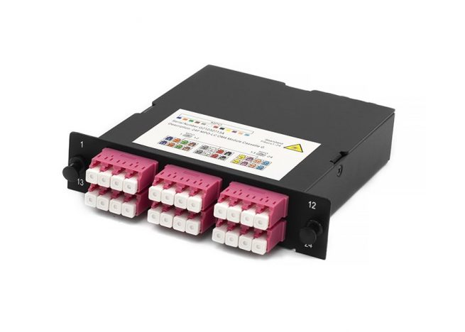 MPO-LC Fiber Optic Cassette, OM4, 24 Core