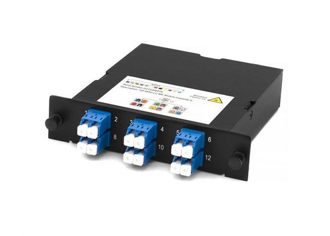 MPO-LC fiber cassette, SM, 12 core